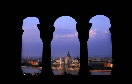 notable: The Hungarian Parliament Building is the seat of the National Assembly of Hungary, one of Europes oldest legislative buildings, a notable landmark of Hungary and a popular tourist destination of Budapest.Seen from the Fishermens Bastion Stock Photo