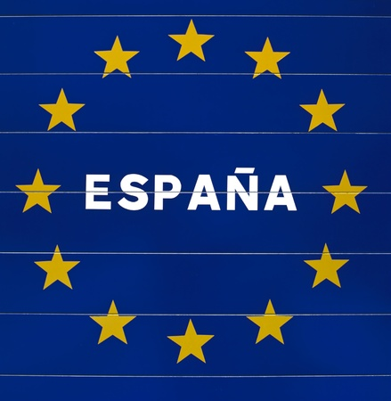 european community: Sign from the European Community at the border of Spain Stock Photo