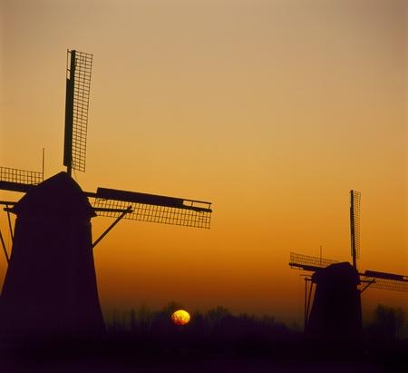 nederland: Dutch windmills just before sunrise. Kinderdijk, the Netherlands. Stock Photo