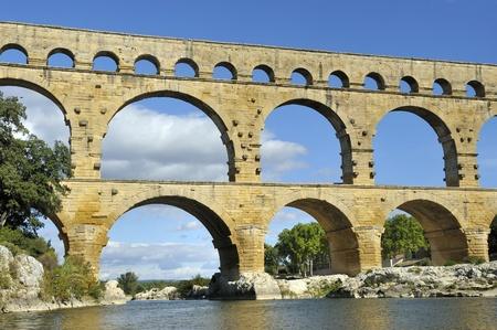 local landmark: Roman aquaduct Pont du Gard, France.