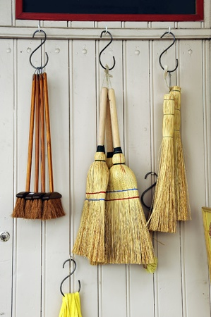 Brooms at a household shop in France Stock Photo - 11035898