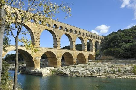 Roman aqueduct Pont du Gard, France.