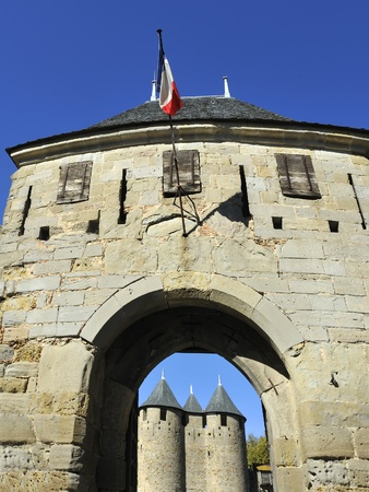 Carcassonne a famous medieval city in Southern France. Carcassonne is the biggest fortress in Europe.  photo