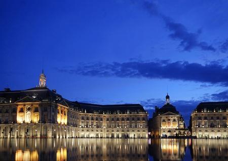 Place de la bourse in Bordeaux in France by night