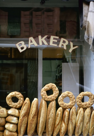 Shop window of a bakery with various breads photo