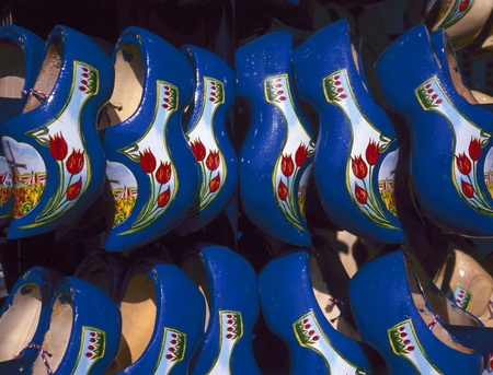 cultural artifacts: traditional blue wooden shoes from the netherlands