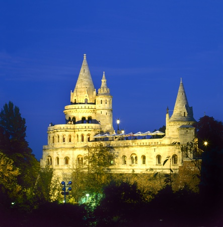 Fishermen�s Bastion by night in Budapest , Hungary photo