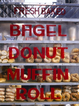 Bagels, donuts muffins and rolls for sale at the streets of New York City  photo