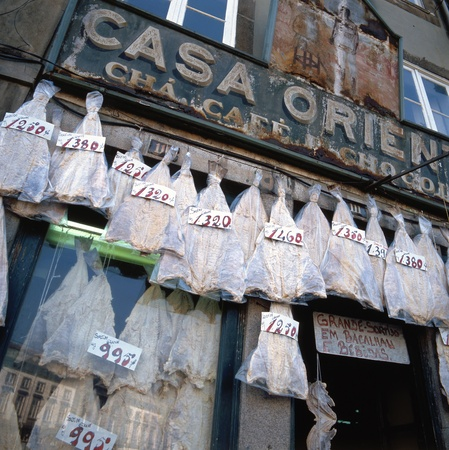 codfish: Old fashioned bacalhau shop in Porto, Portugal. Bacalhau is the Portuguese word for salted codfish