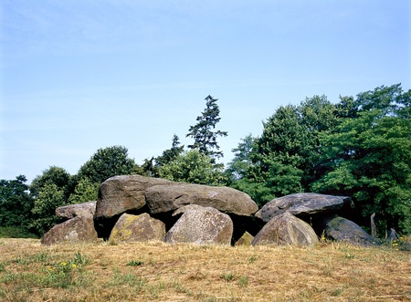 stoneage: Old stone grave like a big dolmen in Drenthe Holland. It is called in Dutch a Hunebed