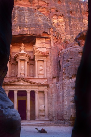 The old city of Petra in Jordan was carved out the rocks.  photo