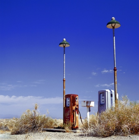 deserted gas station at the border of the desert, near the old Route 66