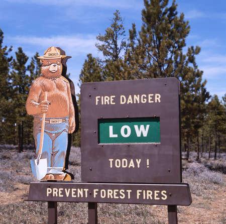 forest fire: Del Condado de Monterey, California, EE.UU. 15 de mayo 2010: Smokey Bear vestido como un guardia forestal en un Servicio Forestal de EE.UU. Prevenir signo de Incendios Forestales. Plack de peligro de incendio bajo, medio o alto se puede cambiar seg�n sea necesario. Los Padres National Forest, California, EE.UU.. Smok Editorial