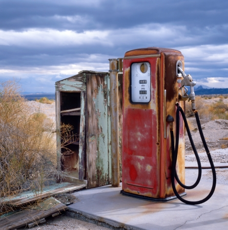 Gas station in ghost town at the border of the desert along the old Route 66