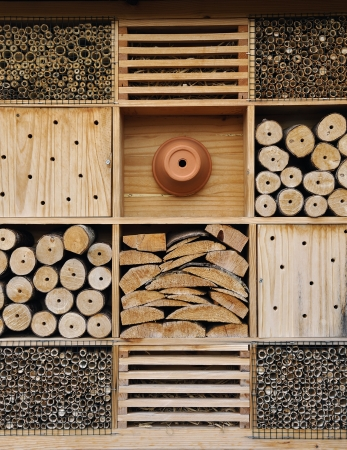 Insect hotel. It is used for attract good bugs insects for garden plants Stock Photo