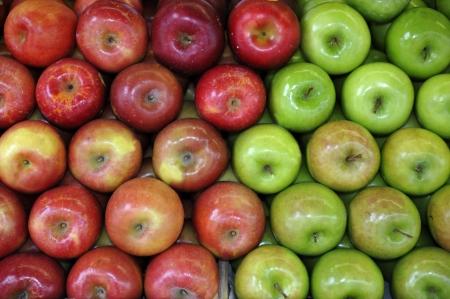 manzana verde: Manzanas verdes y rojas en el frutero