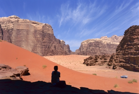 Four wheel drive in Wadi Rum desert, Jordan photo