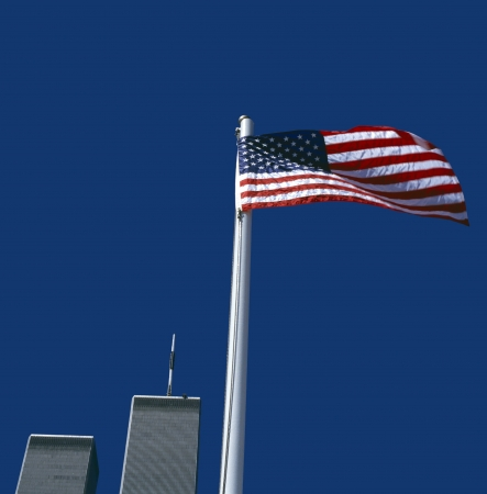 world trade center: World Trade Center with American Flag,New York, USA