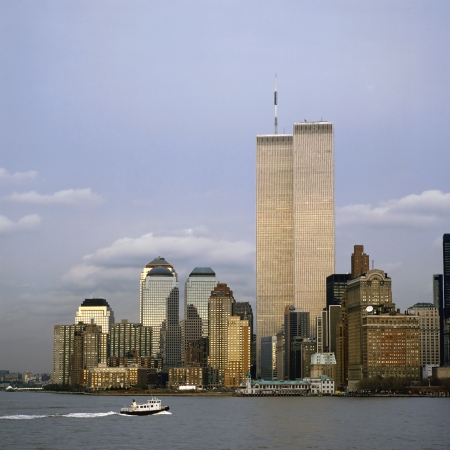 The NYC skyline with the World Trade Center seen from NJ Stock Photo