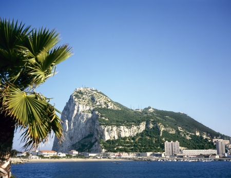 andalusia: Gibraltar on a sunny day seen from across the bay