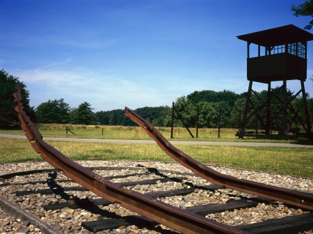 juliana: There where during the second World War the railway to Durchgangslager Westerbork finished, the queen at that time, Queen Juliana of the Netherlands, has unveiled a monument, existing of a 40 meters long railway and an upwards bent rail.  Stock Photo