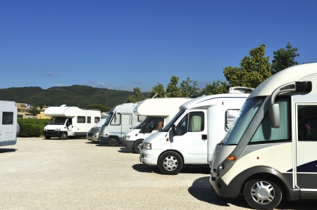 getting away from it all: Campers at a camper site in France