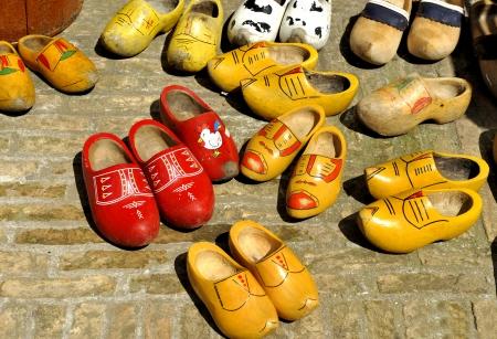 klompen: Colored Dutch wooden shoes - clogs at a flea market