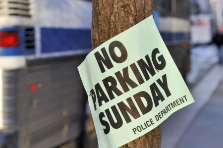 broadside: No Parking on Sunday, Temporary Police Order Stock Photo