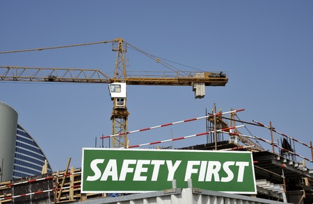 Safety First Warning Sign at construction site in Dubai photo