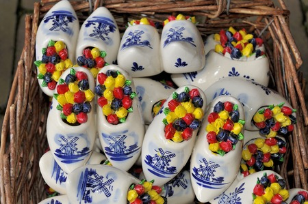 clog: Ceramic clogs filled with porcelain tulips