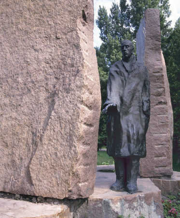 Budapest, Hungary-July 3, 2008; Statue by Imre Varga of Raoul Wallenberg, the Swedish diplomat who saved many Jewish lives, erected in the year 1987  The bronze statue was built between two sheets of rock walls July 3, 2008 Budapest Stock Photo