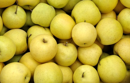 yellow apples at the greengrocer on a farmers market Stock Photo