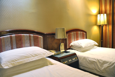 separate: Luxurious hotel room with two separate beds