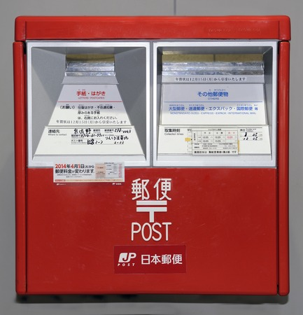 english language: Kyoto, Japan-November 11,2014; Japanese red mailbox in close up.With text in japanese characters and English language. Novembver 11, 2014 Kyoto,Japan