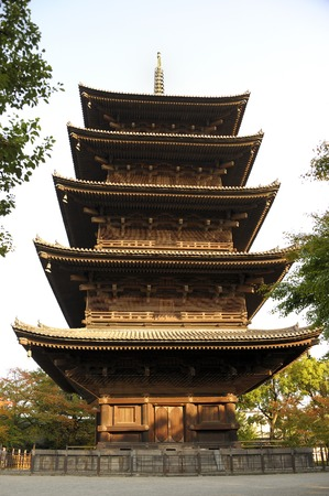 Kyoto,Japan-November 7, 2014: The wooden tower of To-ji Temple in Nara Japan is the largest temple pagoda in the country at a height of 54.8 meters. It is a UNESCO world heritage site. November 7, 2014 Kyoto, Japan