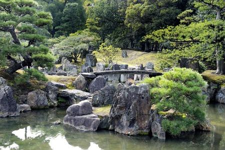 nijo: Old Japanese garden of Nijo Castle in Kyoto, Japan