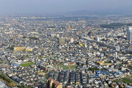 Aerial view of suburbs of Osaka, Japan