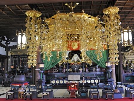 zen interior: Kyoto,Japan-November 3,2014; Interior of the Honnoji temple in the center of town.November 3, 2014 Kyoto, Japan