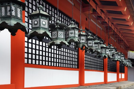 worshipers: Nara, Japan-November 6, 2014, Kasuga Taisha Shrine is famous for its lanterns, which have been donated by worshipers.  Editorial