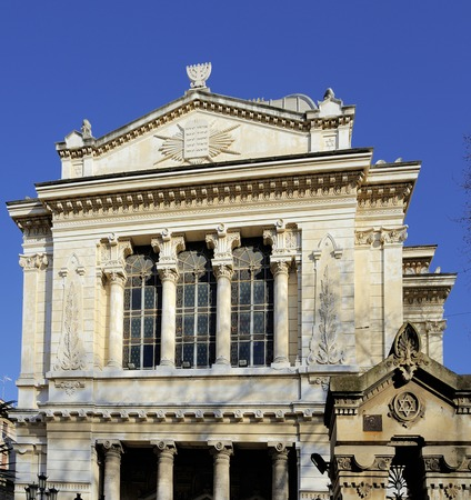 tevere: Exterior of the great synagogue in Rome, Italy