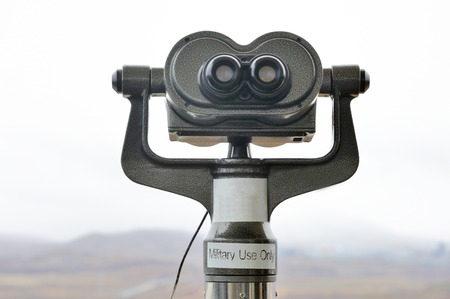Binocular for military use only to watch  North Korea at the DMZ Zone (South Korea) Stock Photo