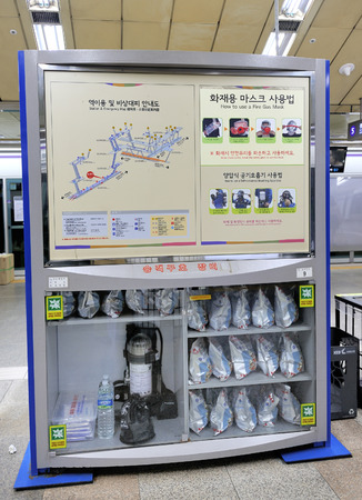 invaded: Seoul, South Korea-November 9, 2015: Relief goods in the subway of Seoul. Instruction in Korean and English language how to use the smog and gas masks. November 9, 2015 Seoul, South Korea