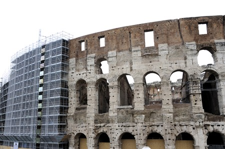 scaffolds: Scaffolds at the Coliseum in Rome, Italy Stock Photo