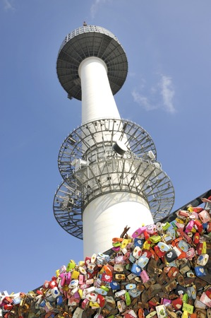 Seoul Tower at Namsan hill with love padlocks, Seoul, South Korea Editorial