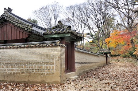heritage site: Brick wall at the Jongmyo Royal Shrine in Seoul, South Korea. This is the supreme shrine of the state where the tablets of royal ancestors are enshrined. It is an Unesco World Heritage Site. Editorial