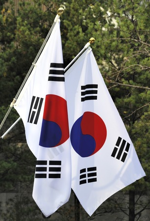 taiji: The national flag of South Korea. It has three parts: a white background, a red and blue Taeguk, which is a red and blue Taiji yin- and yang-symbol in the center.