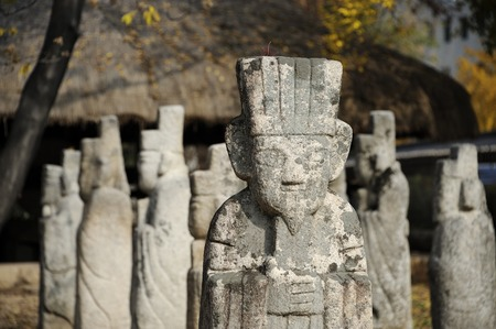 important people: Seoul, South Korea-November 11, 2015; Primitive stone statue for guarding tombs of important people at Gyeongbokgung Palace. November 11, 2015  Seoul, South Korea
