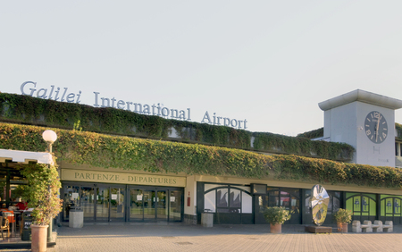 PISA, ITALY- SEPTEMBER 29, 2018: Pisa international airport Galileo Galilei named after the famous scientist from Pisa is the main airport in Tuscany. No People 에디토리얼