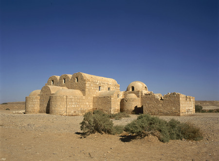 The Amra desert castle (Qasr Amra) near Amman, Jordan., built in 8th century by the Umayyad caliph Walid II and famous for its unique frescos.