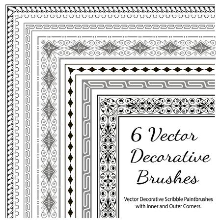 Vector decoratieve borstels met binnen- en buitenhoeken. Naadloze randen voor patroonkaders. Verschillende kleuren zijn mogelijk.